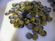 Lot of 200 BEER BOTTLE CAPS/Crowns/PLAIN Solid GOLD /Crafts/Lined/UNUSED