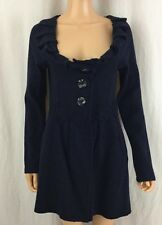 Anthropologie Charlie & Robin 100% Wool Jacket Coat Blazer Navy Blue Sz M