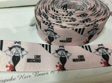 1 Metre Moschino Pink Lady Print Grosgrain Ribbon Designer 22mm Cakes Bow Dummy