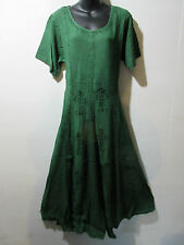Dress Fits 1X 2X  Plus Long Green Renaissance Flared Pleated Lace Hem NWT G227
