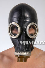1mm Heavy Fully Enclosed Rubber Latex Gas Mask Black Rubber Hood