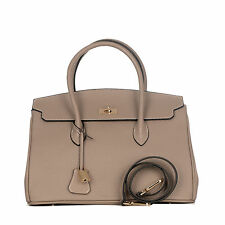 ROUVEN Taupe Grau & Gold GRACE 35 Tote Bag Leder Henkeltasche Schultertasche