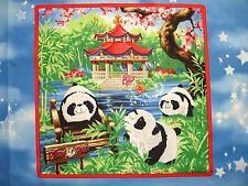 Childrens Pillow Pets Panda Bears Butterflies Bamboo  Cotton Quilt Fabric Block
