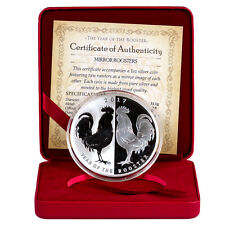 2017 Tokelau $5 1 oz. Proof Silver Lunar Year Rooster - Mirror Roosters SKU42852