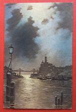 CPA. 1918. Paysage Marin. Réverbère. Pont. Bateaux. Ville. Photogravure. London