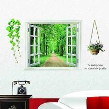 Window 3D Green View Flower Plant Green Road Wall Stickers Art Mural Decal