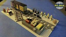 Military Railyard Lego Switch Tracks 7 Soldier Minifigure Army Boxcar Model Set