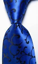 New Classic Paisley Blue Black JACQUARD WOVEN 100% Silk Men's Tie Necktie