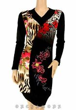 Robe Tunique Pull  MY DESIGN  Taille 44 XXL 5 broderie Fleurs perles Soirée NEUF