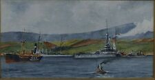 "Fine Watercolour ""Battleship in Harbour"" Signed Submarine & Marine Listed Artist"