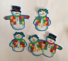 Colorful little Christmas Snowmen - Iron On Fabric Appliques