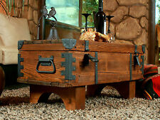 OLD TRAVEL TRUNK Coffee Table Cottage Steamer Trunk PINE CHEST Vintage box