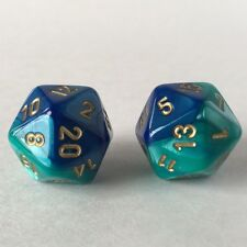 2x Gemini Blue Teal with Gold D20 Dice (16mm) Chessex Magic Dungeons Dragons RPG