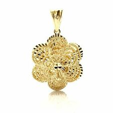 18K Yellow Gold Flower Pendant 4.8 Grams