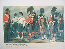 SCOTTISH MILITARY POSTCARD-THE 79TH CAMERON HIGHLANDERS BY D.CUNLIFFE C 1853