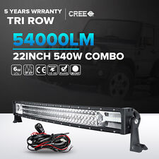 7D+ Tri-Row 22inch 540W Curved LED Work Light Bar Spot Flood Jeep Truck Boa