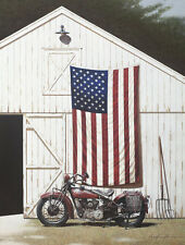 USA AMERICAN FLAG ART PRINT - Barn and Motorcycle by Zhen-Huan Lu Poster 13x19