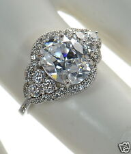 Solid 925 Sterling Silver Oval Cut Lab Simulated Diamond Engagement Ring Sz-9 '