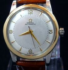 VINTAGE MEN 1950 OMEGA BUMPER AUTOMATIC 14K GOLD BEZEL S-STEEL WATCH SERVICE 351