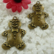 Free Ship 14 pieces bronze plated Ginger Bread Men pendant 41x26mm #586