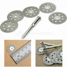 5PCS 22MM, STONE GLASS METAL DREMEL, ROTARY TOOL DIAMOND CUTTING DISCS & MANDREL