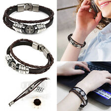 Women's Fashion Ladies Bracelet Jewelry Cross Synthetic Leather Metal Clasp New