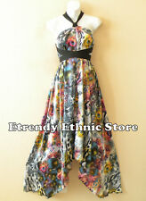 1D89 - Versatile Peacock Silk Multi Wear Scarf Long Maxi Halter Dress Maternity