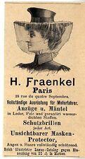 H. Fraenkel Paris AUSRÜSTUNGEN FÜR MOTORFAHRER Historische Annonce 1902