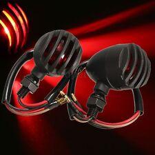 Pair Black Motorcycle LED Bullet Turn Signal Blinker Red Indicator Light 10W 12V