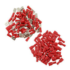 50pair 100x Red Fully Insulated Red Spade Crimp Wire Connectors Terminal Kit