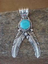 Native American Indian Jewelry Sterling Silver Feather Pendant! Turquoise