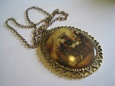 """Gold Tone Chain Necklace With Large Patriotic Print Pendant, 24"""""""