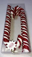 Set of 6 Christmas Holiday Ornaments Red White Candy Cane Peppermint Sweet Treat