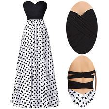 Formal Chiffon Strapless Polka Dots Splicing Ball Gown Evening Prom Party Dress