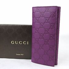 New GUCCI Purple Guccissima Leather Clutch Wallet w/Coin Pocket 305282 5526