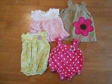 Infant Girls size NB, 0-3 mo, lot of 4, dresses, shirts w/snaps, tops #983