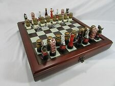 NEW Budweiser Beer Anheuser Busch Chess set~Clydsdale Horse~32 pc~Board~Storage