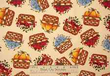 Fruit Basket Pear Strawberry Blueberry Cherry Filled Baskets Cotton Fabric YARD