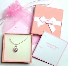 Pink Crystal Heart Necklaces Flower Girl Bridesmaid Gift Favour +Tag Box Bag