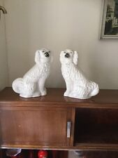 "ANTIQUE PAIR OF LARGE STAFFORDSHIRE POTTERY DOG FIGURES FREE UK P&P 11"" Tall"