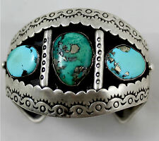 Navajo att Roger A.Lewis Hand Made Bracelet w Natural Morenci Turquoise w Pyrite