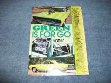 "1970 Plymouth Road Runner Pro Street Vintage Article ""Green is for Go"" Hemi"