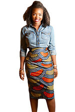 Orange & Yellow African Print Pencil Skirt Midi Skirt Size UK 10-12