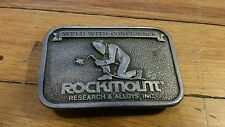 VINTAGE ROCKMOUNT RESEARCH AND ALLOYS BELT BUCKLE 1980 BERGAMOT BRASS WORKS