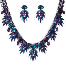 Violet  Rhinestone Dangle Leaf Fringe Choker Collar Necklace Earrings collier