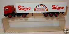 WIKING HO 1/87 TRUCK CAMION MAN 790 SEMI REMORQUE SUGRO ESSIEUX ROUGE in BOX