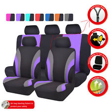 Universal Car Seat Covers Black Purple Car Seat Cover Set For Women Airbag Fit