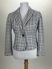 PENDLETON women blazer short white blue black WTW career Silk Cotton Sz 2