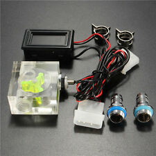 "3/8"" ID x 1/2"" OD Water Cooling 3 Way Flow Indicator W/ Thermometer LED Fitting"