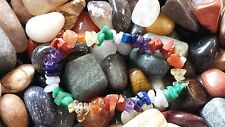 LOVELY HAND-MADE RAINBOW GEMSTONE CHIP BEAD CRYSTAL HEALING BRACELET